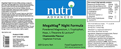 MegaMag Night Formula – 169g – Chamomile – Powdered Magnesium, L-Tryptophan, Hops, L-Theanine & Lactium