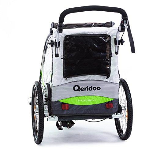 Qeridoo Sportrex 1 Deluxe (inkl. Sitzpolster) Kinder-Fahrradanhänger für 1 Kind (mit einstellbarer Federung) – grün - 3