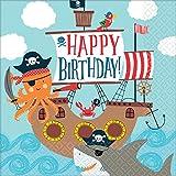 16 Servietten * AHOY * für Kindergeburtstag und Motto-Party | AHOI Piratenschiff Krake Kinderpiraten Pirat Seeräuber Freibeuter Schatzsuche Kinder Geburtstag Mottoparty Napkins Einweg Krake Hai