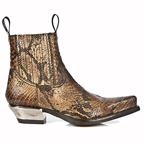 New Rock M.7953-S7 SNAKE CUERO, WEST NEGRO ACERO Brown