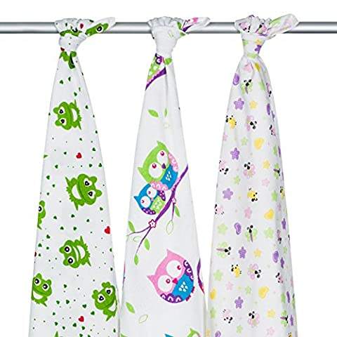 3 x Super Soft High Quality Baby Flannel Muslin Squares, Large 80x70, 100% Organic Brushed Cotton – Peeka - Boo set. Multiply use: Blanket, Wrap, Face Cloth, Towel, Nappy, Cover, Changing Mat,