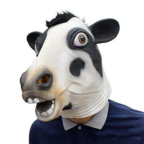 Für Erwachsene Tierkostüm Lustige - OYWNF Latex Lustige Kuhkopf Masken Halloween Spiel Party Supplies Tierkostüm Requisiten (Color : Dairy Cow, Size : One Size)