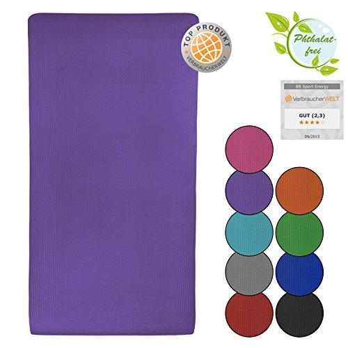 Tappetino da yoga ENERGY 190 cm x 100 cm x 1,5 cm materassino da pilates, ginnastica, sport fitness fisio, morbido, Colore:Vivid Violet