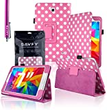 """SAVFY Samsung Galaxy Tab 4 7.0 7-inch PU Leather Case Cover and Flip Stand , Bonus: + Screen Protector + Stylus Pen + SAVFY Cleaning Cloth (for Galaxy Tab 4 7"""" INCH T230/T231/T235, WiFi or 3G+WiFi) (Polka Dots LIGHT PINK)"""