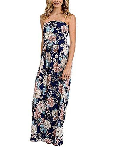 carinacoco Damen Bandeau Bustier Kleider mit Blüte Drucken Lange Sommerkleid Abendkleid Partykleid...