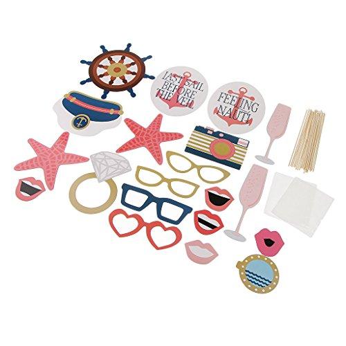 Homyl Foto Maske Photo Booth Props Foto Accessoires mit Pirate Muster, Witzig für Party Karneval und Geburtstag