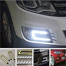 DELHITRADERSS 2X Car U Shape COB Led Daytime Running Lights Lamp DRL Light CAR Fog Light