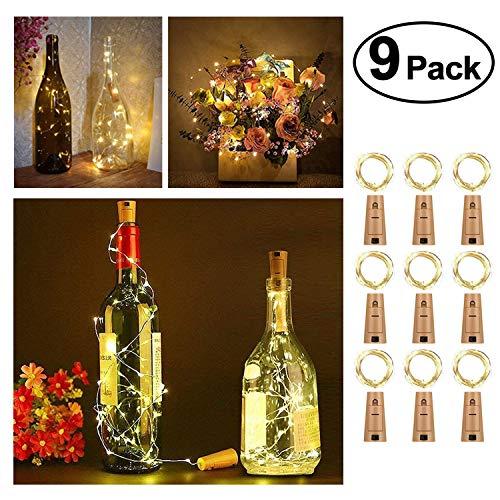 LED Flaschen-Licht , solawill 9 Stück Flaschenlichter Lichterketten 20 LED Nacht Licht Batteriebetriebene Mini Kupferdraht Weinflasche Lichter für Flasche DIY, Party, Hochzeit, Partei Decor (Warmweiß)