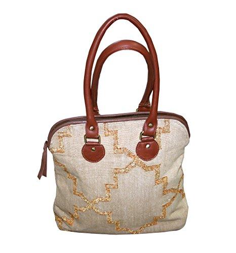 2c72a19b15 Donna borsetta ricamo etnico Handmade Gold Zari Ladies Tote borse a tracolla