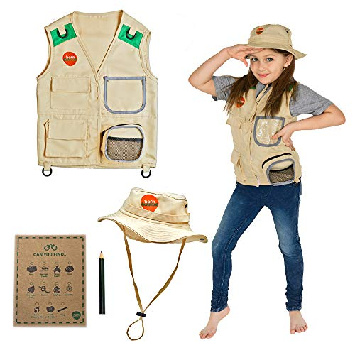 Play Child's Kostüm - Born Toys Explorer and Safari Costume Vest and Hat Set for Kid Explorer and Outdoor Dress up and Role Play-Great for Park Ranger Paleontologist Zoo Keeper Costume and Adventure Kids...