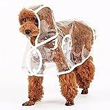 Japace® Trasparente Cane Impermeabile Cappuccio Antipioggia Vestiti del Cucciolo Animale Domestico per Giorni di Pioggia - XL