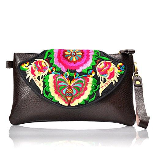 Nazionale PU borse in pelle–Memorecool ricamo modello borse fibbia magnetica Design sfondo nero black2 black2