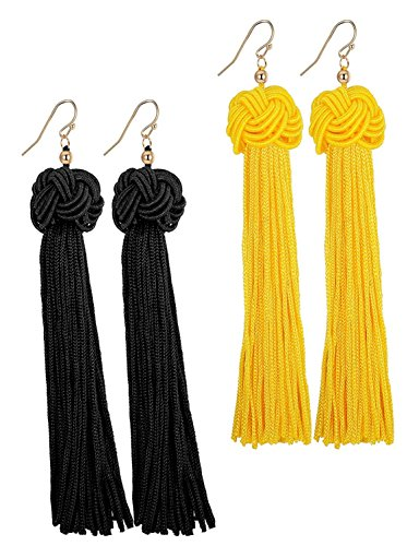 Pendientes amarillos largos con borlas para mujer