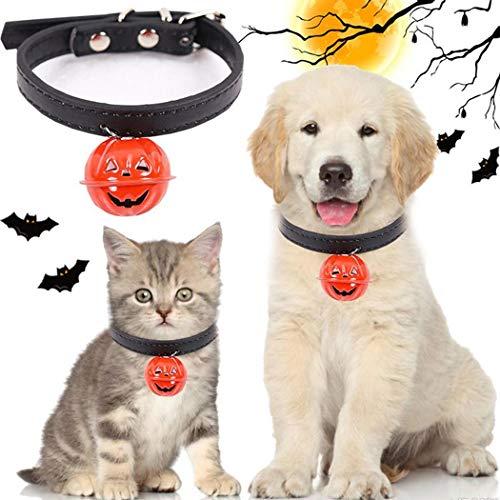 Qiopes Hundehalsband, für Halloween, für Hunde und Katzen, Leder, mit Kürbisglocke, graviert für Halloween, Urlaub, Motto-Party, Kostüme, Schwarz, - Einfach S Motto Kostüm