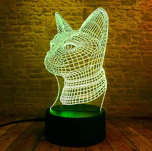 Cat 3D Led Lamp 7 Cambia colore Le luci notturne per i bambini Le bambine da tavola Baby Decorazioni natalizie