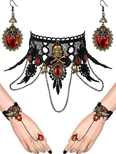 5 Stück Halloween Schwarze Spitze Choker Halskette und Vampire Style Ohrringe und Steampunk Spitze Armband für Mädchen und Frauen im Teenageralter (Stil Satz 3)