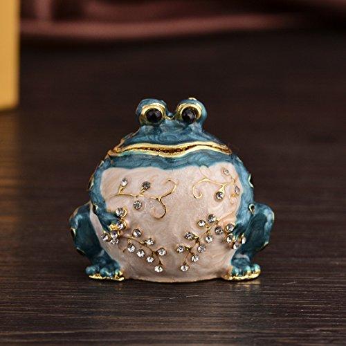 Micg Handmade Blue fat Frog Trinket box wedding Ring Holder statuetta da collezione tavolo centrotavola Christmas Gift for Girl