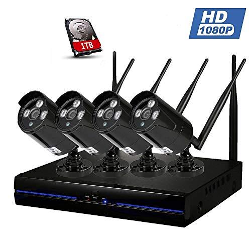 1080P 4CH WiFi IP Kamera Set, WLAN Überwachungskamera Kit Innen außen, Wireless Sicherheitskamera Outdoor, Drahtlose Funkkamera System Nachtsicht Bewegungsmelder NVR 1TB, Wasserfesten Bewegungssensor -