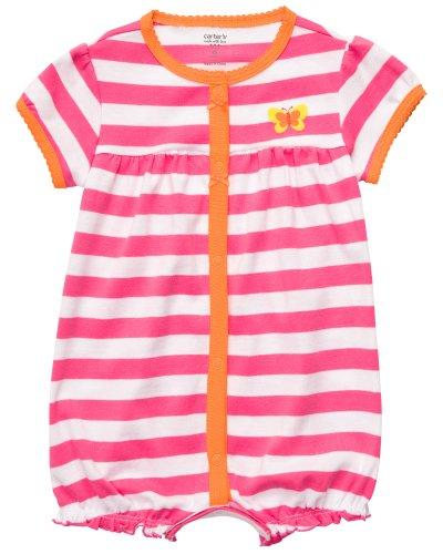 Carter's süßer Sommer Spieler für Mädchen Einteiler outfit Baby Bod girl dress onesie Kleid (6 Monate, weiss/pink) - Carters Baby Girls Kleid