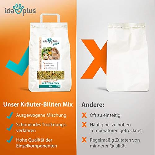 Ida Plus – Kräuter-Blüten Mix 3,5 kg – Abwechslungsreicher Futter-Mix für Nager: Kaninchen, Zwergkaninchen, Hamster, Meerschweinchen, Chinchillas usw. – mit Karotte & Luzerne + Vitamin C - 6