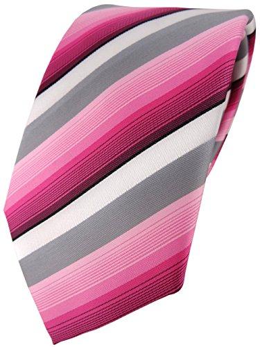 TigerTie Designer Krawatte in rosa pink grau weiss gestreift - Tie Binder