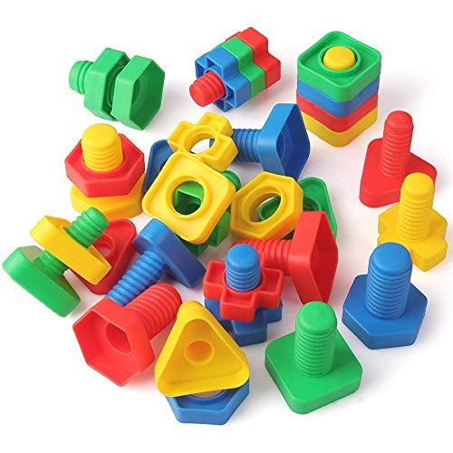 Coogam Jumbo Nuts and Bolts Building Construction Set Montessori Toys Occupational Therapy Tools Matching Fine Motor Skills for Toddlers Baby - Screw Nut Autism Educational Toy for Kids (32 Pcs)