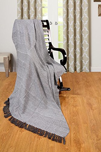 EHC Wave Large 100% Sofa Armchair Bed Blanket Throw, 150 x 200 cm, Cotton, Grey, Small Double