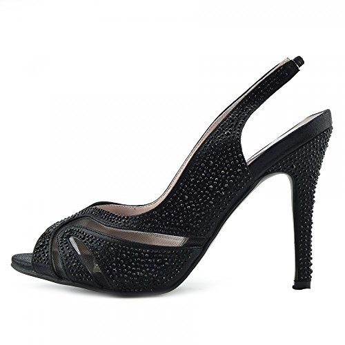 Kick Schuhe Damen Hochzeit Heels Diamante Sandale Schuhe BLACK-S160207