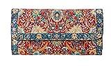 Cartera Billetera Étnica con Monedero Largo Diseño de Alfombras para Mujer Bolso Largo de Mano de Gran Capacidad Portamonedas de Embrague Cartera con Cierre (Roja - Azul)
