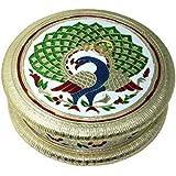 [Sponsored]SRI LALIT ARTS 6*6 GERMAN VELVET ROUND DRY FRUIT BOX,Serving Tray, Decorative Platter, Beautiful Snack Box With Unique Meenakari Peacock Design