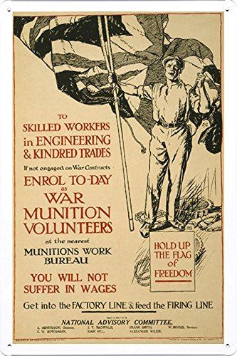 world-war-i-one-tin-sign-metal-poster-reproduction-of-to-skilled-workers-in-engineering-kindred-trad