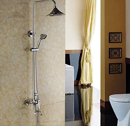 ZYL-YL Badezimmer-Dusche-Satz-Bad-Hahn-Messinghahn-Abdeckung Spray auf Wasserfall Duschsystemen Rain Mixer Set mit Duschkopf-Höhenverstellung