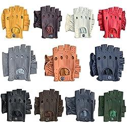 Prime - Guantes para conducir de Cuero Auténtico con Medios Dedos - Para Ciclismo o Motociclismo - 309 - S, Rojo