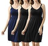 Frauen Stillkleid mit Still-BH Funktion Breatfeeding Dress Schwangerschafts Umstands Nachthemd Schwarz+Blau,M