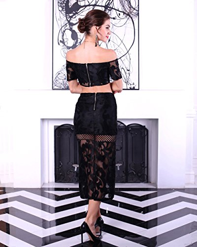 Missord women's Sexy strapless short sleeve two-pcs pattern split zipper dress Black