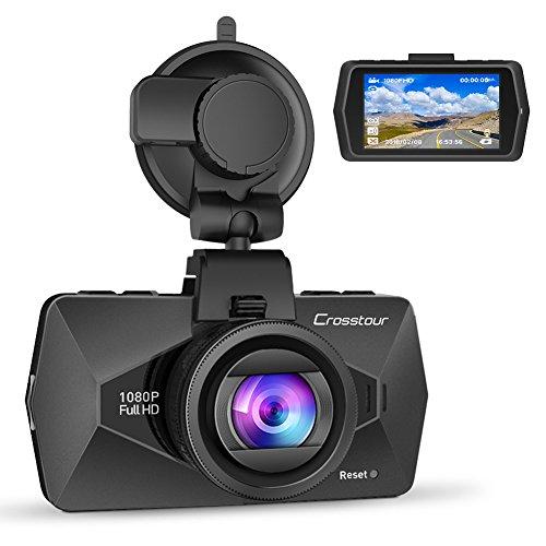 Crosstour Dashcam Caméra Embarquée de Voiture 1080P Full HD 12MP 170°Grand-angle 2,7 Pouces LCD avec HDR Capteur de Gravité Enregistrement en Boucle Détection de Mouvement et Super Vision Nocturne