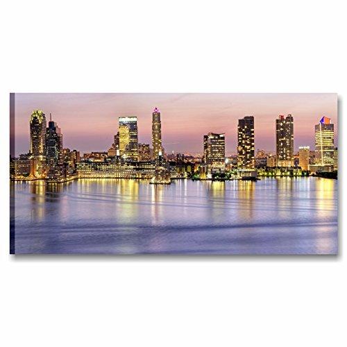 Karo L & C Italien Skyline Sonnenuntergang-90x 45cm Rahmen modern artiginale Made in Italy Druck auf Leinwand gerahmt Wand Möbel Wohnzimmer Manhattan violett -