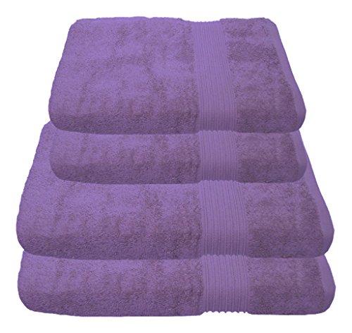 Julie Julsen Handtuch Set 2x Duschtuch 2x Handtuch Lavendel / in 23 Farben erhältlich weich und saugstark (Handtuch Lavendel)