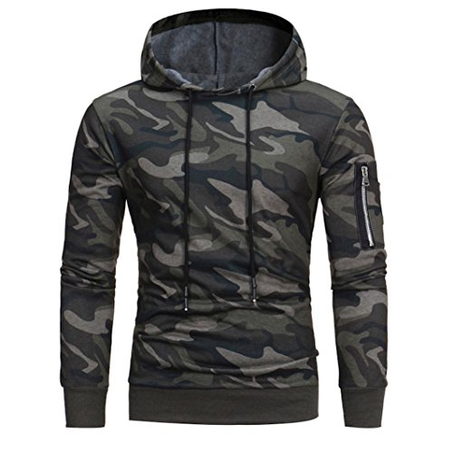 Veste Manteau Outwear Pour des homme, Malloom Manche longue Camouflage Sweat à capuche Encapuchonné Sweat-shirt Tops (XL, Camouflage)
