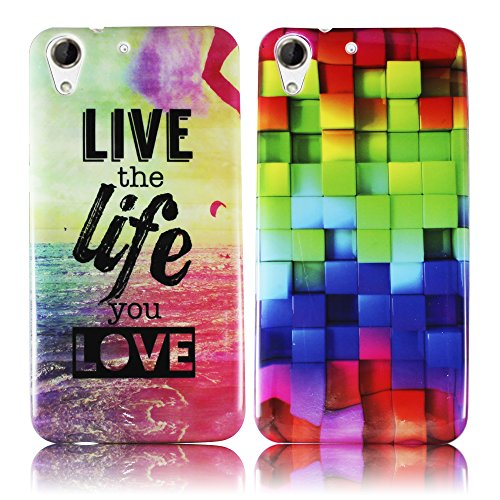 HTC Desire 728G 2x SET BUNTES MUSTER + LIVE THE LIFE Silikon Silikon Schutz-Hülle weiche Tasche Cover Case Bumper Etui Flip smartphone handy backcover Schutzhülle Handyhülle thematys®