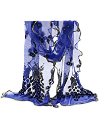 Sanwood Frauen Pfau Blume gestickt Spitze Schal Halstuch Stola