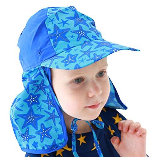 Sportliche Nylon-anzug (Butterme UPF 50+ Sonnenschutz Sportliche Klappe Wide Brim Swim Flap Cap für Baby Säugling Kinder Jungen Mädchen (Hellblauer Stern))
