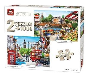 King City Collection 2in1 Puzzle - Rompecabezas (Puzzle Rompecabezas, Ciudad, Adultos, Hombre/Mujer, 8 año(s), Cartón)