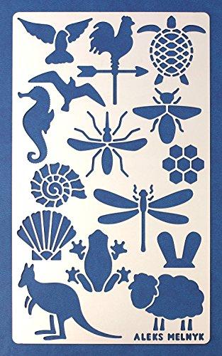 Aleks Melnyk #9 Schablone Metall/Tiere/Edelstahl Planer Schablone Tagebuch 1 PCS/Notebook/Tagebuch/Bujo/Scrapbooking/Basteln/DIY Zeichnungsschablone