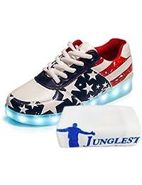 (Presente:pequeña toalla)blanco EU 36, LED parpadeante JUNGLEST® carga mujeres moda moda Sport hombres zapatillas zapatos