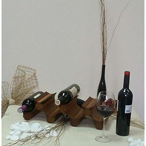 Scaffale porta bottiglie di vino, in legno, 7 bottiglie Cherry wood