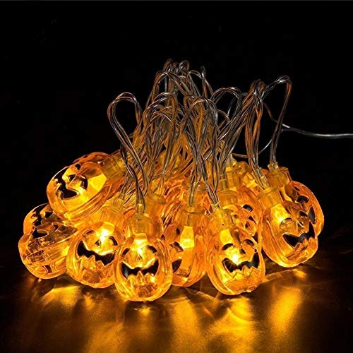 CARPURY Decoraciones Halloween Luces de Calabaza para 30 LED Luces de Hadas Luces de Cadena Halloween Decoración Fiestas Temáticas Jardín Casa Cocina Hogar (Batería 5AA No Incluida) (Calabaza)