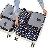 Dexinx 6 en 1 Set de Organizador de Equipaje Perfecto para Viaje con Cubos de Embalaje Impermeable Organizador de Maleta Bolsa para Ropa de Viaje Azul Marino1