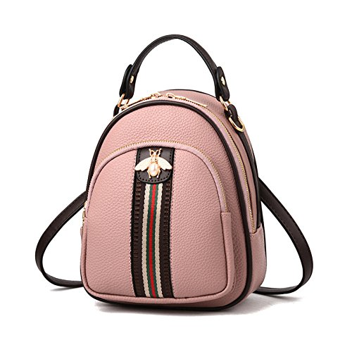 Kleine Tasche Damen Multi-Funktions-weibliche Tasche Mode Neue Schultertasche Damen Messenger Bag Rucksack Kleine Frische Tasche 17 * 10 * 23cm,Pink-17 * 10 * 23cm (Drucken Sie Multi-schnalle)