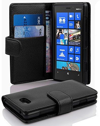 Cadorabo Hülle für Nokia Lumia 820 Hülle in Handyhülle mit Kartenfach aus Struktriertem Kunstleder Case Cover Schutzhülle Etui Tasche Book Klapp Style Oxid Schwarz